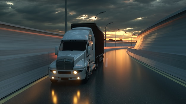 Truck on the road highway transports logistics concept