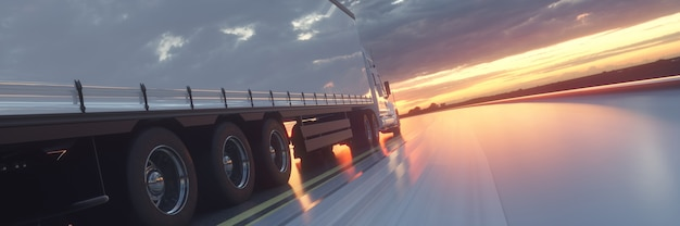 Truck on the road highway