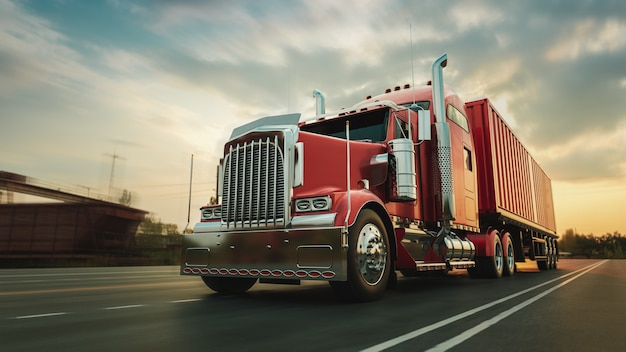 The truck runs on the highway with speed. 3d rendering and illustration.