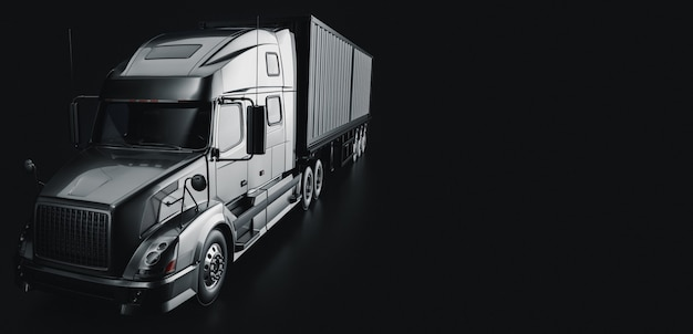 Truck  in the studio room . 3d render and illustration.