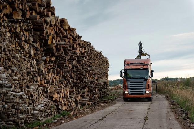 Truck unloads timber at port warehouse field.