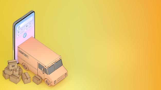 多くの小包ボックスを備えた携帯電話から排出されたトラックバン。、オンラインモバイルアプリケーション注文輸送サービスとオンラインショッピングと配信コンセプト。、3dレンダリング。