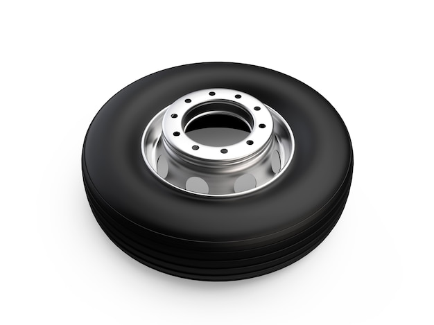 Truck wheel on aluminum hub with black shine tire high resolution commercial service 3d render