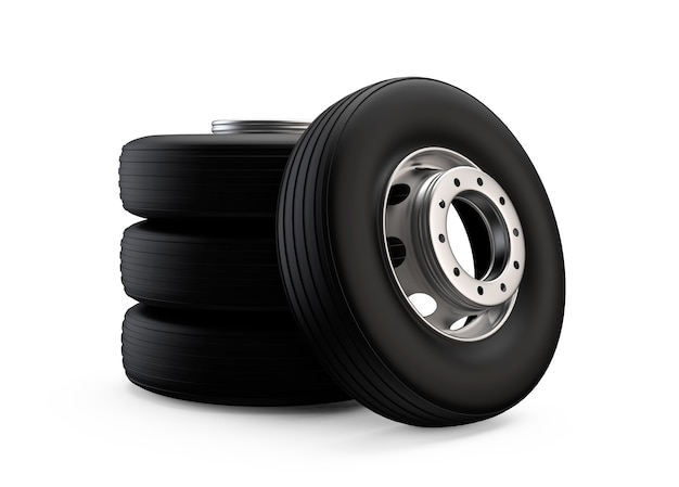 Truck wheel on aluminum hub with black shine tire new clean transport part realistic illustration