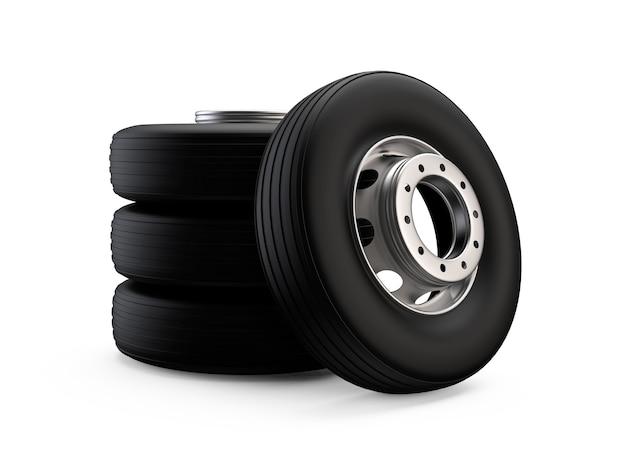 블랙 샤인 타이어가 있는 알루미늄 허브의 트럭 휠 새로운 깨끗한 운송 부품 현실적인 그림