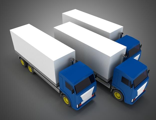 컨테이너 트럭. 3d 그림