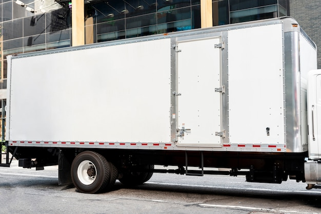Truck with mock-up space for ads