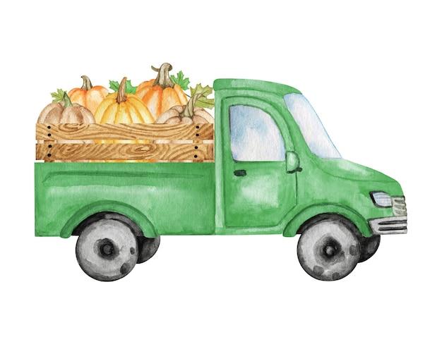 収穫アートとカボチャクリップアート車とトラック