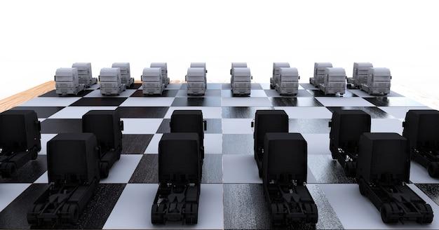 Trucks on a chessboard 3d render
