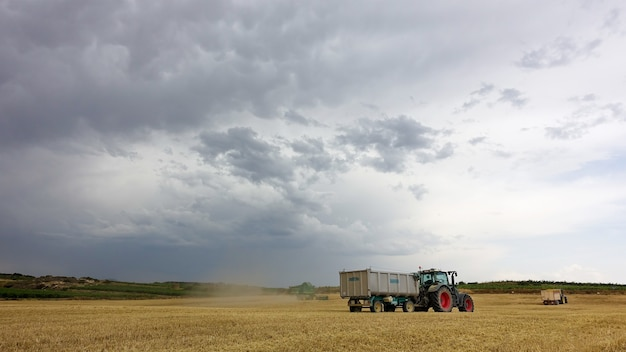 Trucks at the field on a cloudy day during harvest time
