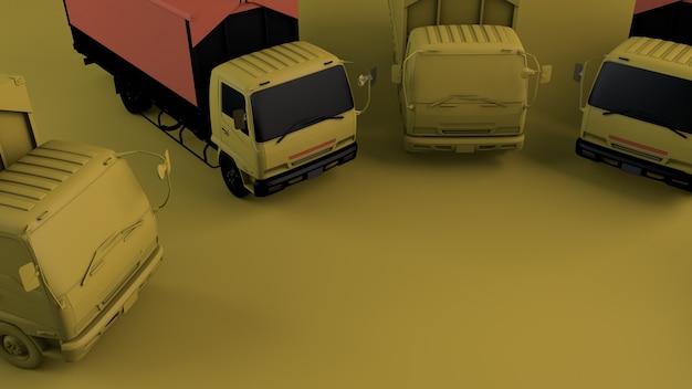 노란색 바탕에 트럭
