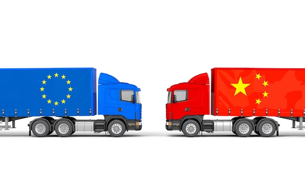 Trucks with european and chinese flags facing each othe