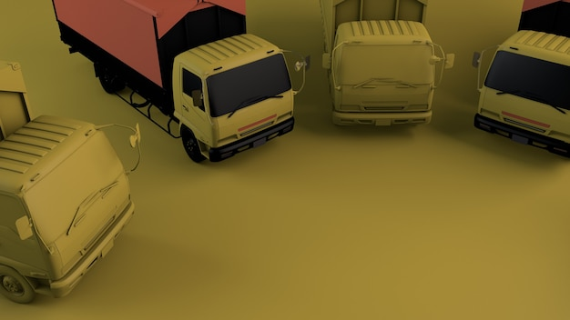 Trucks on a yellow background