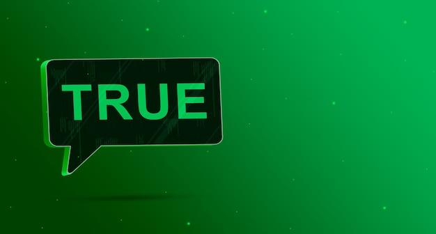 Истинный речевой значок пузыря на зеленом фоне 3d визуализации