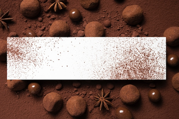 Truffles and cocoa powder with rectangle mock-up