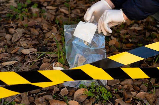 Truth concept arrangement at a crime scene