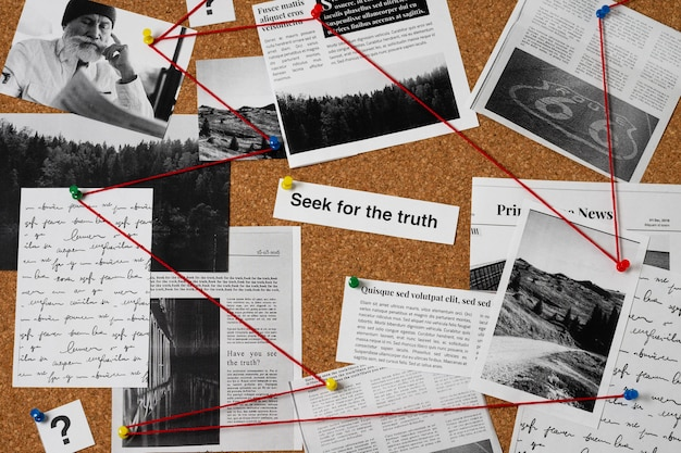Truth concept composition at a detective desk