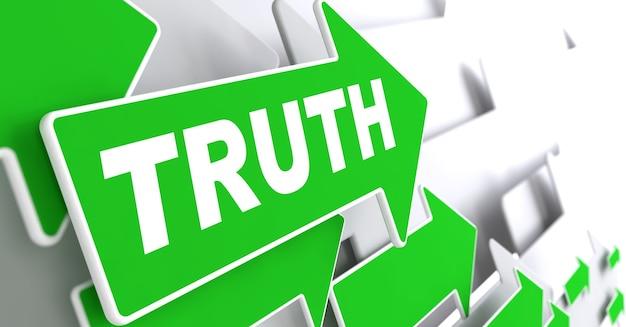 灰色の背景に真実のテキスト緑の矢印