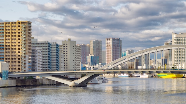 Tsukiji bridge for crossing sumida river in the morning, from kachidoki bridge, tokyo, japan