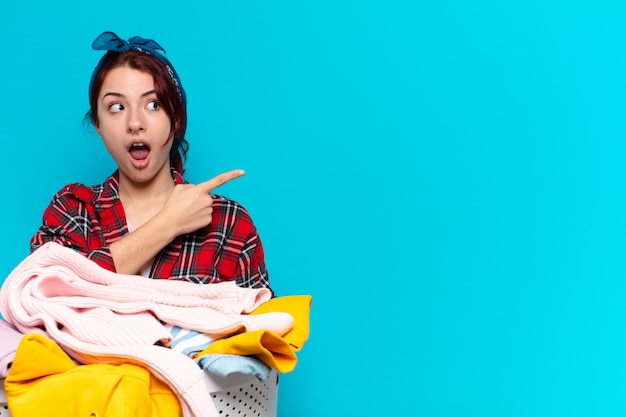Tty girl housekeeper washing clothes