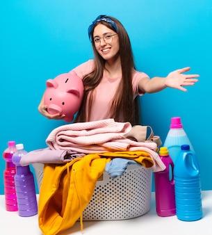 服を洗うtty家政婦の女性