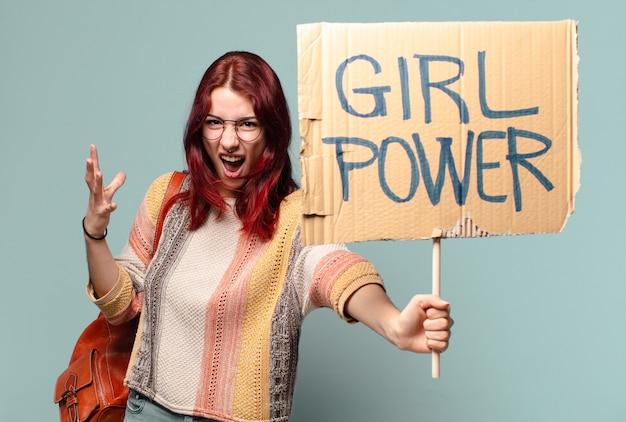 Студентка-активистка tty. концепция силы девушки