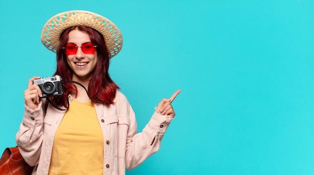 Tty旅行者の女性。観光の概念