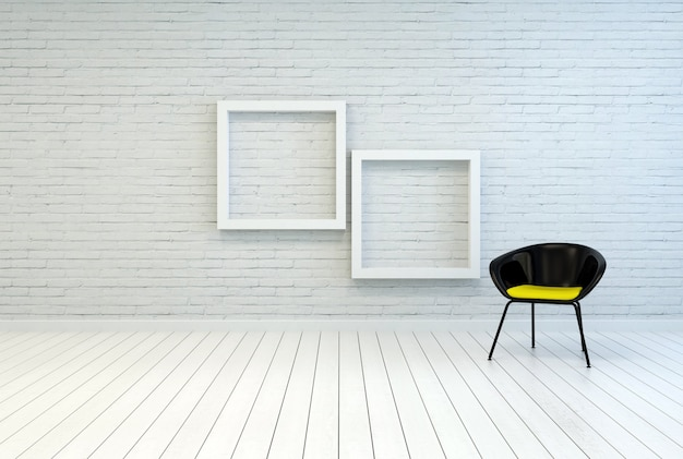 Tub chair alongside two empty picture frames