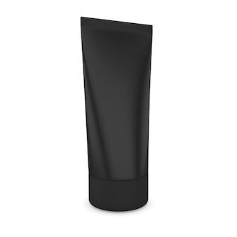 Тюбик кремового черного, изолированные на белом