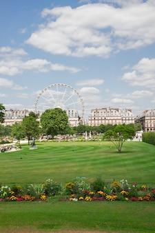Tuileries garden at summer day, paris, france