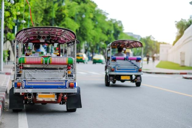 Tuk tuk (thai traditional taxi car) parking for wait a tourist passenger