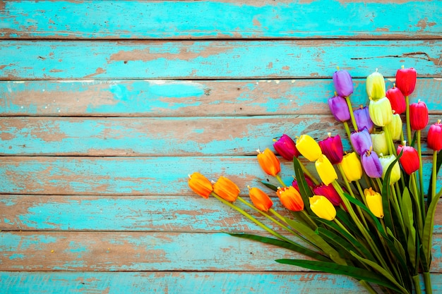 Tulip blossom flowers on vintage wooden background