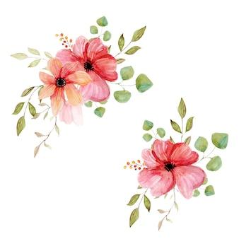 어두운 배경에 튤립 수채화 봄 꽃 화 환