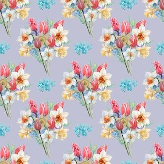 チューリップと水仙の花の花束のパターン