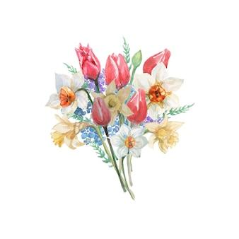 チューリップと水仙の花の花束