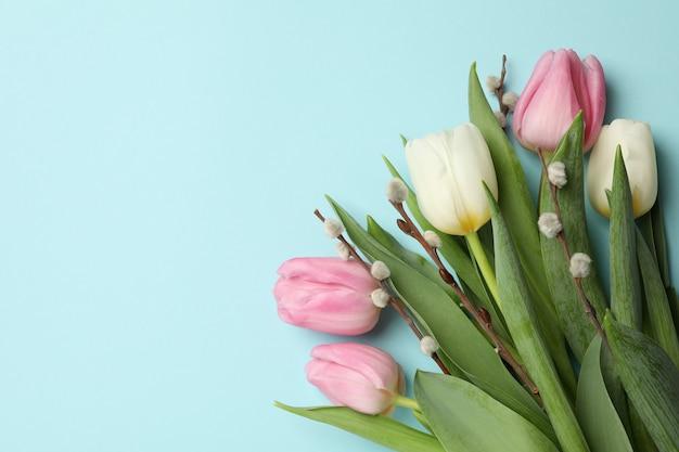 Тюльпаны и сережки ивы на синем фоне