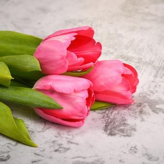 Тюльпаны яркие, свежие, розовые на светло-сером столе