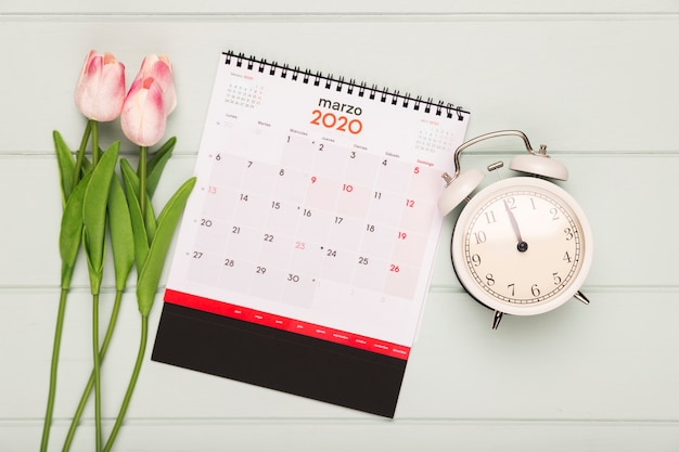 Tulips bouquet beside calendar and clock