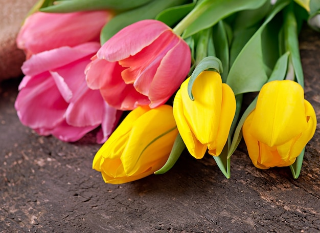Tulips bouquet on wooden