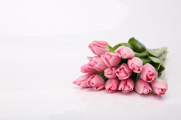Tulips flower bouquet valentine's day card concept