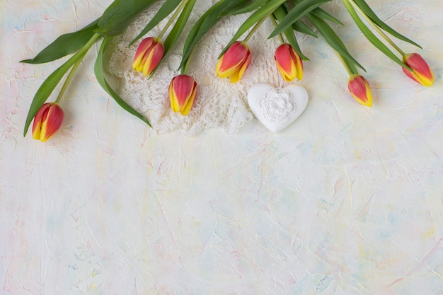 Tulips, lace and heart