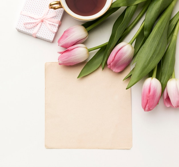 Tulips with gift and greeting card