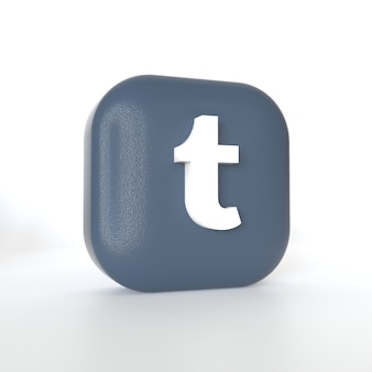 3d 렌더링이 포함 된 tumblr 애플리케이션 로고