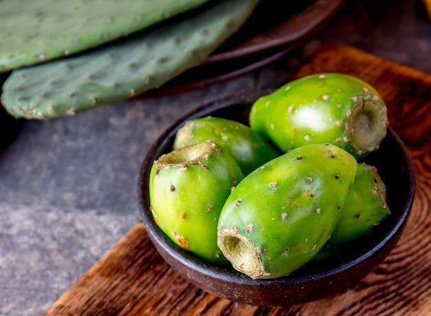 Tuna cactus fruit on a bowl