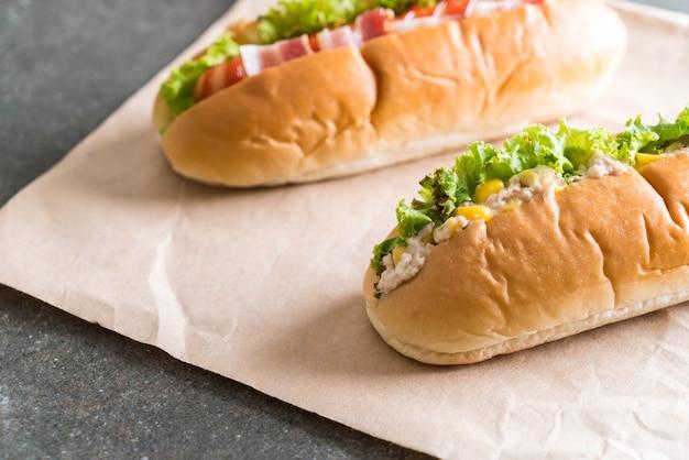 Tuna corn salad hotdog and bacon sausage hotdog