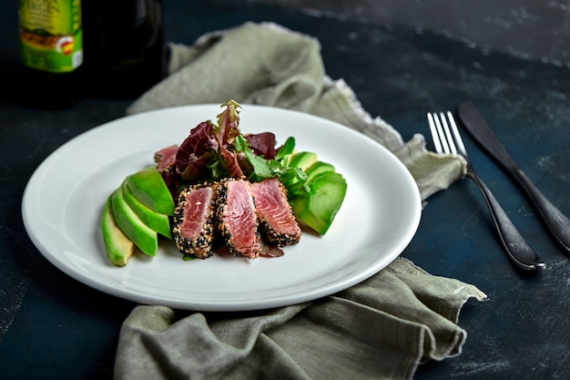 Tuna fish salad with avocado, healthy salad