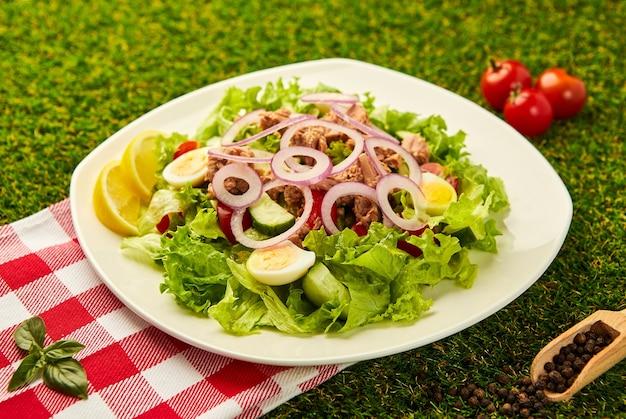 緑の草の上にレタス、チェリートマト、キュウリ、タマネギのツナフィッシュサラダ