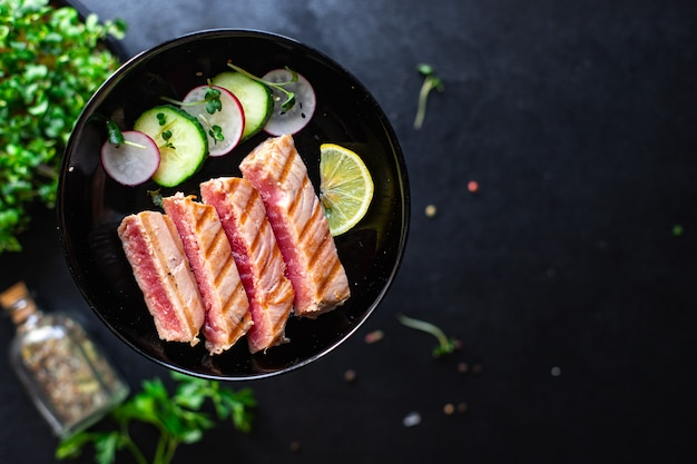 マグロのグリルシーフード揚げバーベキュー魚のグリル健康的な食事食事スナックペスカタリアンダイエット