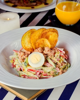 Tuna salad with vegetables mayonnaise and chips