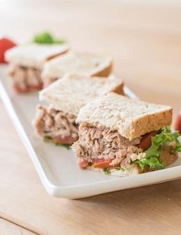 Tuna sandwich on plate